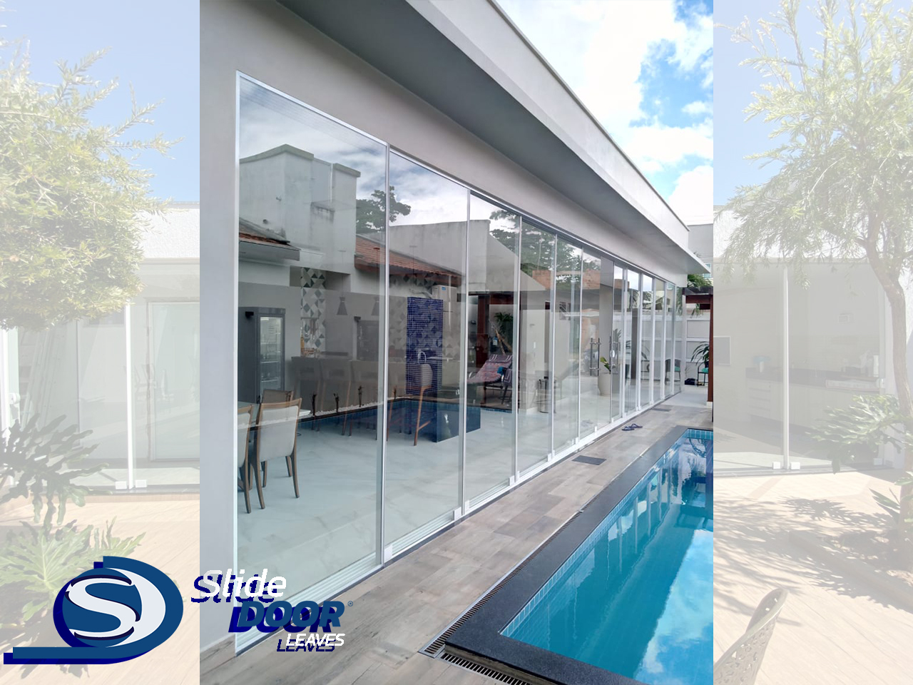 Slide Door de 9.500 mm piscina